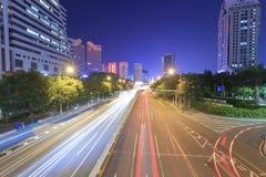 Vue de nuit de rue de Shennan Photo stock