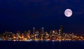Vue de nuit de Seattle de stationnement de Hamilton Photos stock
