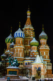 Vue de nuit de St Basil Cathedral Photos stock