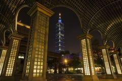 Vue de nuit de Taïpeh 101 Images libres de droits