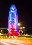 Vue de nuit de Torre agbar Photos libres de droits