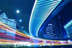 Vue de nuit de ville de Changhaï belle Images libres de droits