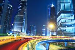Vue de nuit de ville de Changhaï belle Image stock