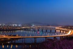 Vue de nuit de ville de Séoul, Corée du Sud Image stock