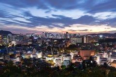 Vue de nuit de ville de Séoul, Corée du Sud Photographie stock libre de droits