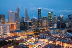 Vue de nuit de ville de Singapour Image stock