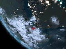 Vue de nuit de Djibouti sur terre Images stock