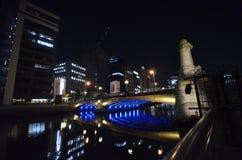 Vue de nuit du district des affaires d'Osaka Photo stock