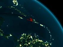 Vue de nuit du Haïti sur terre Photographie stock