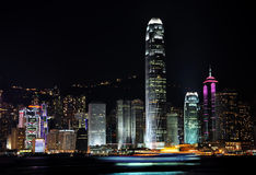 Vue de nuit du port de Hong Kong Victoria, 2009Y Photographie stock libre de droits