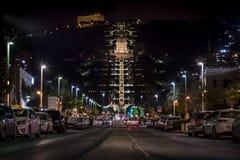 Vue de nuit du temple de Bahai à Haïfa Photo stock