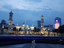 Vue de nuit de jamek de Masjid photographie stock libre de droits