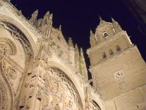 Vue de nuit de la cathédrale de Salamanque images libres de droits