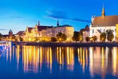 Vue de nuit de la vieille ville de Wroclaw, Pologne images libres de droits