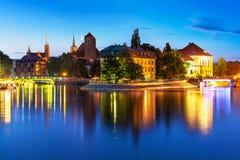 Vue de nuit de la vieille ville de Wroclaw, Pologne image libre de droits