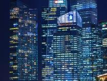Vue de nuit de Marina Bay, Singapour Image stock