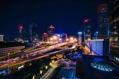 Vue de nuit de Pékin CBD images libres de droits