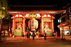 Vue de nuit Porte de tonnerre du 5 septembre 2016 au temple d'Asakusa Senso-JI à Tokyo, Japon Photos stock