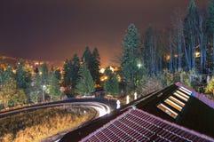 Vue de nuit de Predeal photos libres de droits