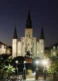 Vue de nuit sur la cathédrale de St Louis, la Nouvelle-Orléans Images libres de droits