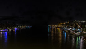 Vue de nuit sur la rivière de Belgrade Image stock