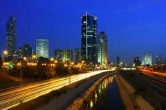 Vue de nuit sur Tel Aviv. Photographie stock libre de droits