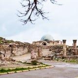 Vue de palais antique d'Umayyad à la citadelle d'Amman Photographie stock