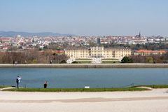 Vue de palais et de Vienne de Schonbrunn de Gloriette, Autriche Photo libre de droits