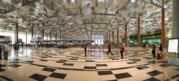Vue de panorama d'aéroport de Changi à Singapour Photographie stock