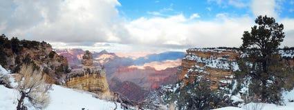 Vue de panorama de gorge grande en hiver avec la neige Photo libre de droits