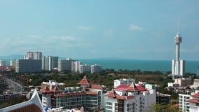vue de panorama de 4K Timelapse de ville de Pattaya et de Golfe du Siam, Thaïlande banque de vidéos