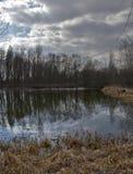 Vue de panorama de lac et d'arbres avec les nuages dramatiques Photographie stock libre de droits