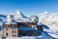 Vue de panorama de Matterhorn massive de Gornergrat Photos stock