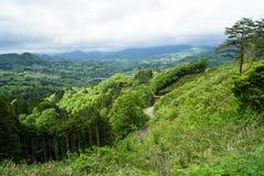 Vue de panorama, de route, de pont et de ville de montagne de verdure de loin Images stock