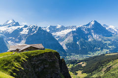 Vue de panorama de Schreckhorn, Fiescherwand, Eiger Photo stock