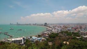 Vue de panorama de ville de Pattaya, Thaïlande banque de vidéos