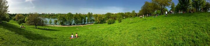 Vue de panorama des personnes détendant et ayant le pique-nique en parc public des jeunesse Images libres de droits