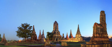 Vue de panorama des restes antiques à Ayutthaya Photographie stock libre de droits