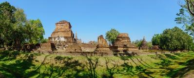 Vue de panorama des ruines de Wat Mahathat Images libres de droits