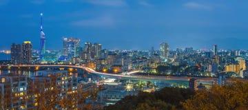 Vue de panorama du paysage urbain de Fukuoka dans Kyushu, Japon Photographie stock libre de droits