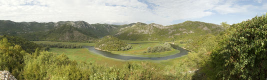Vue de panorama sur le fjord de Monténégro Images libres de droits