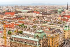 Vue de panorama de ville de Vienne de cathédrale Autriche de St Stephan photos libres de droits