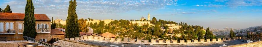 Vue de Panoroma d'église de Dormition sur le mont Sion, Jérusalem, Israël Basilique, mémorial photo stock