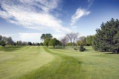 Vue de parcours ouvert de terrain de golf Photographie stock