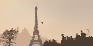 Vue de Paris avec Tour Eiffel et la colline de Montmartre illustration de vecteur