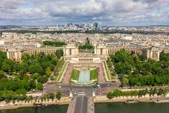Vue de Paris - rivière la Seine, Palais de Chaillot, la défense de La Photos libres de droits