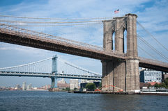 Vue de passerelle de Brooklyn et de Manhattan Photo stock