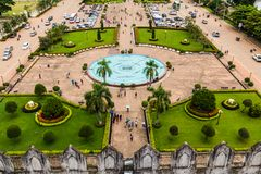 Vue de Patuxai, Vientiane, Laos Image stock