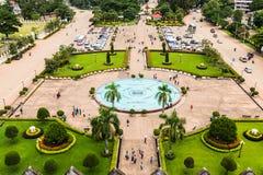 Vue de Patuxai, Vientiane, Laos Images libres de droits