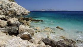 Vue de paysage de mer Égée de l'eau Photos libres de droits